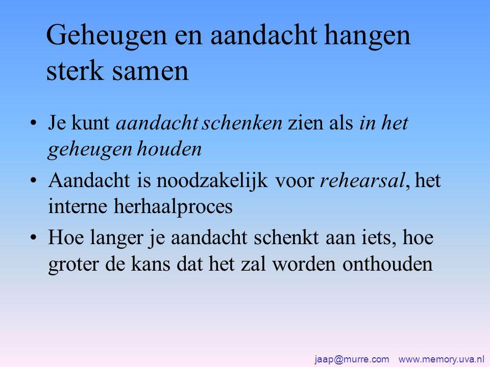 jaap@murre.com www.memory.uva.nl Geheugen en aandacht hangen sterk samen •Je kunt aandacht schenken zien als in het geheugen houden •Aandacht is noodz