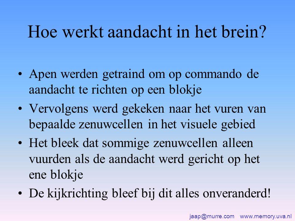 jaap@murre.com www.memory.uva.nl Hoe werkt aandacht in het brein? •Apen werden getraind om op commando de aandacht te richten op een blokje •Vervolgen