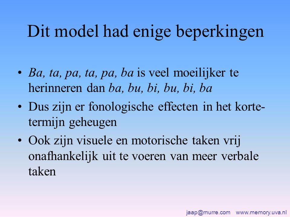 jaap@murre.com www.memory.uva.nl Dit model had enige beperkingen •Ba, ta, pa, ta, pa, ba is veel moeilijker te herinneren dan ba, bu, bi, bu, bi, ba •