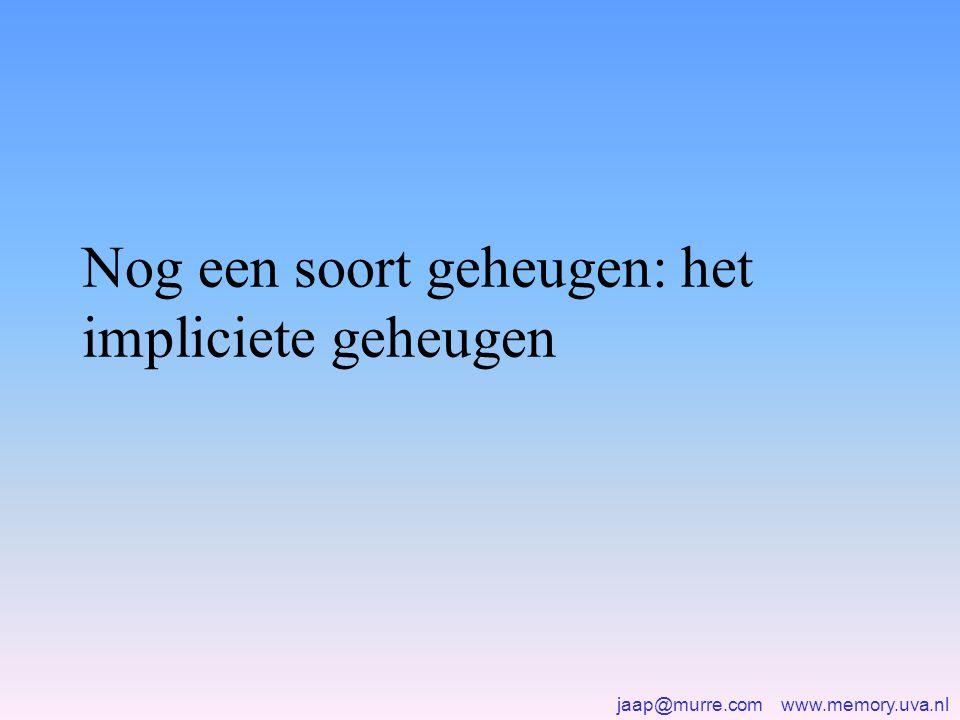 jaap@murre.com www.memory.uva.nl Nog een soort geheugen: het impliciete geheugen