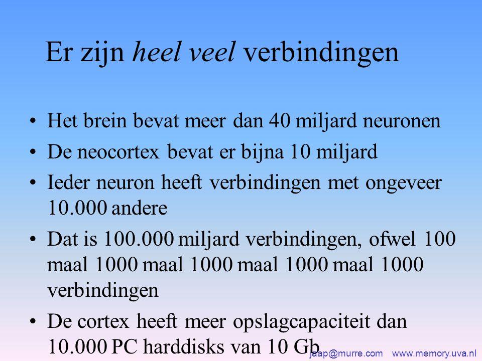 jaap@murre.com www.memory.uva.nl Er zijn heel veel verbindingen •Het brein bevat meer dan 40 miljard neuronen •De neocortex bevat er bijna 10 miljard •Ieder neuron heeft verbindingen met ongeveer 10.000 andere •Dat is 100.000 miljard verbindingen, ofwel 100 maal 1000 maal 1000 maal 1000 maal 1000 verbindingen •De cortex heeft meer opslagcapaciteit dan 10.000 PC harddisks van 10 Gb