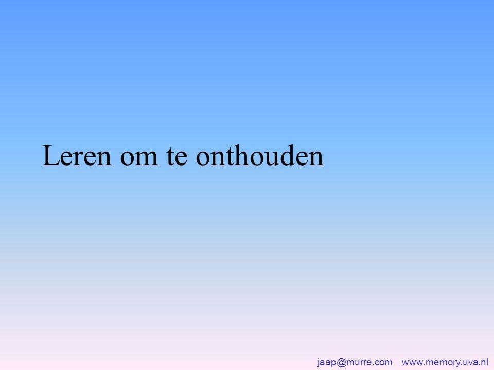 jaap@murre.com www.memory.uva.nl Leren om te onthouden