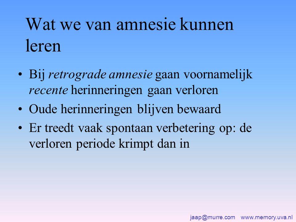 jaap@murre.com www.memory.uva.nl Wat we van amnesie kunnen leren •Bij retrograde amnesie gaan voornamelijk recente herinneringen gaan verloren •Oude herinneringen blijven bewaard •Er treedt vaak spontaan verbetering op: de verloren periode krimpt dan in