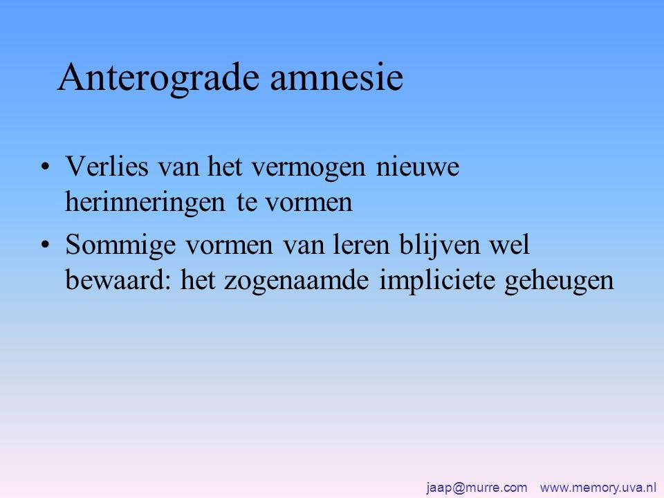jaap@murre.com www.memory.uva.nl Anterograde amnesie •Verlies van het vermogen nieuwe herinneringen te vormen •Sommige vormen van leren blijven wel bewaard: het zogenaamde impliciete geheugen