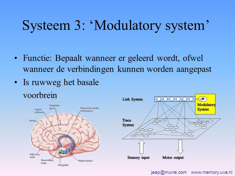 jaap@murre.com www.memory.uva.nl Systeem 3: 'Modulatory system' •Functie: Bepaalt wanneer er geleerd wordt, ofwel wanneer de verbindingen kunnen worden aangepast •Is ruwweg het basale voorbrein