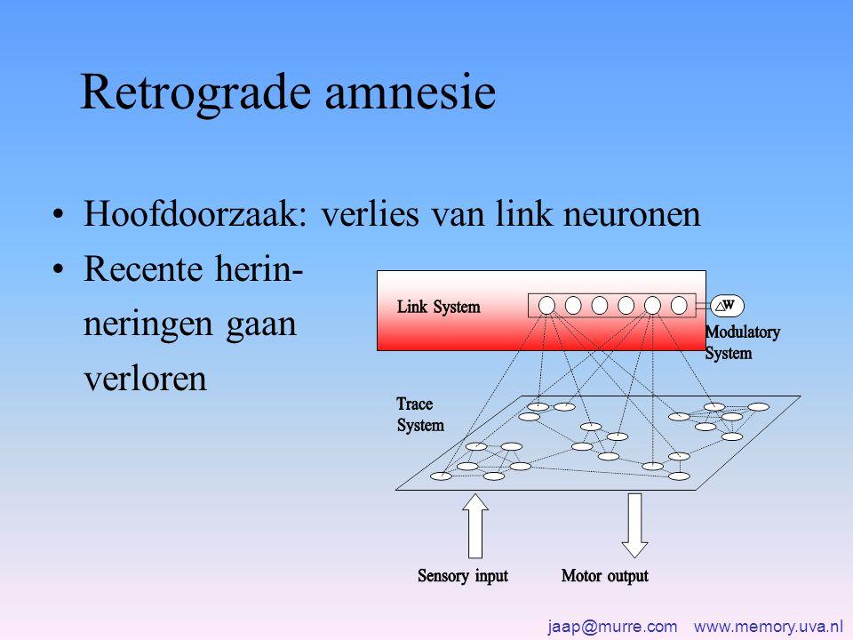 jaap@murre.com www.memory.uva.nl Retrograde amnesie •Hoofdoorzaak: verlies van link neuronen •Recente herin- neringen gaan verloren