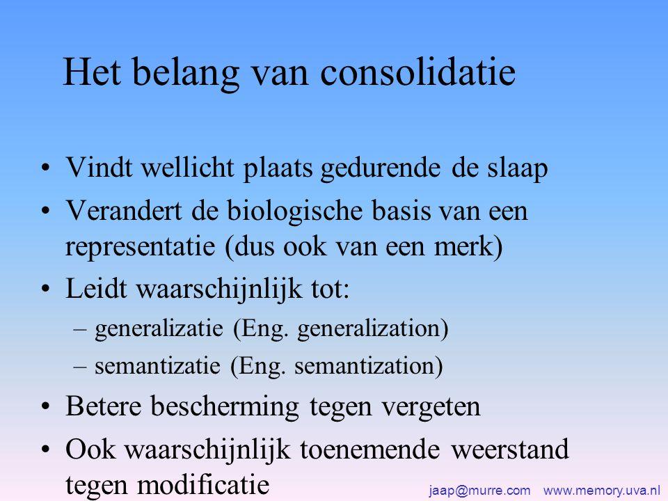 jaap@murre.com www.memory.uva.nl Het belang van consolidatie •Vindt wellicht plaats gedurende de slaap •Verandert de biologische basis van een represe