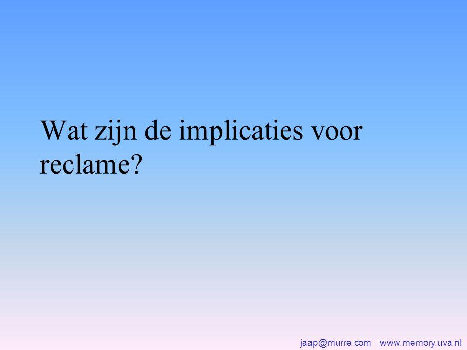 jaap@murre.com www.memory.uva.nl Wat zijn de implicaties voor reclame?