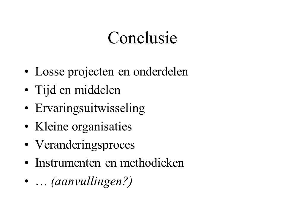 Conclusie •Losse projecten en onderdelen •Tijd en middelen •Ervaringsuitwisseling •Kleine organisaties •Veranderingsproces •Instrumenten en methodieken •… (aanvullingen?)