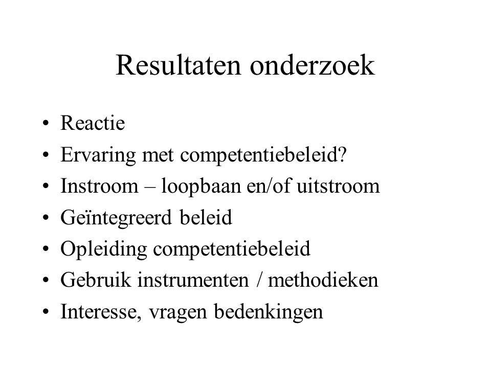 Resultaten onderzoek •Reactie •Ervaring met competentiebeleid.