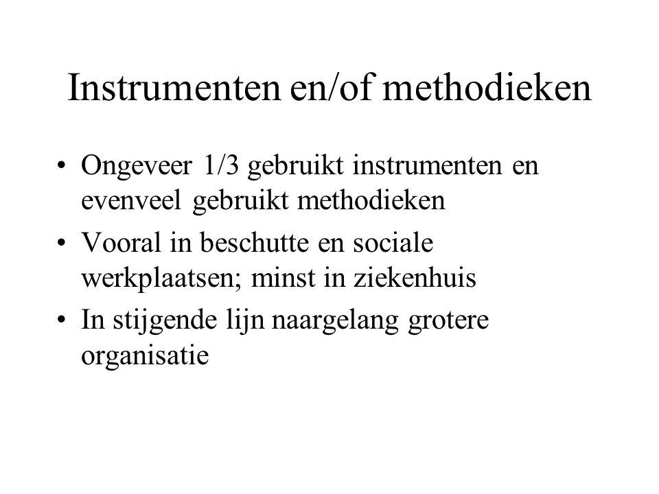 Instrumenten en/of methodieken •Ongeveer 1/3 gebruikt instrumenten en evenveel gebruikt methodieken •Vooral in beschutte en sociale werkplaatsen; minst in ziekenhuis •In stijgende lijn naargelang grotere organisatie