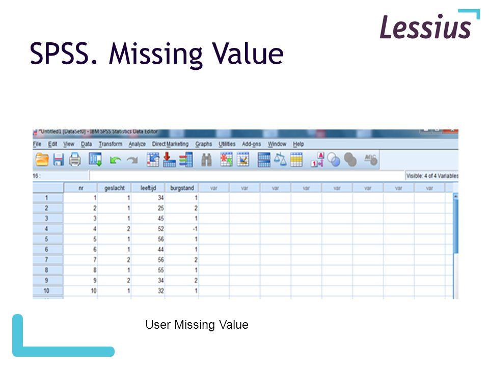 SPSS. Missing Value User Missing Value