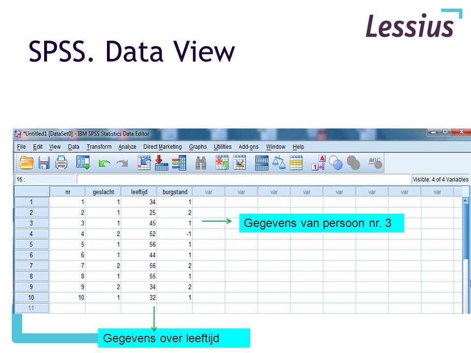 SPSS. Data View Gegevens van persoon nr. 3 Gegevens over leeftijd