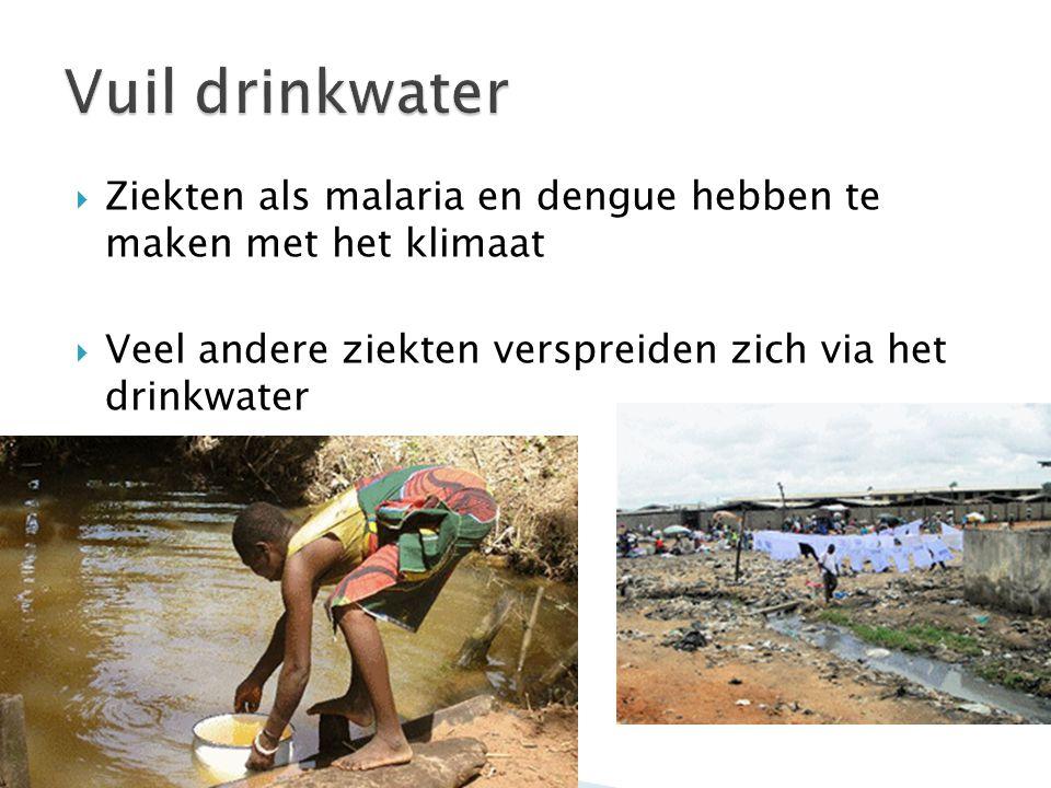  Ziekten als malaria en dengue hebben te maken met het klimaat  Veel andere ziekten verspreiden zich via het drinkwater