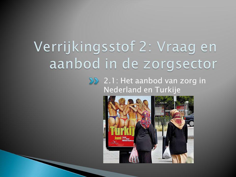 2.1: Het aanbod van zorg in Nederland en Turkije