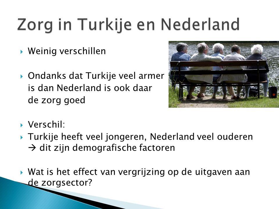  Weinig verschillen  Ondanks dat Turkije veel armer is dan Nederland is ook daar de zorg goed  Verschil:  Turkije heeft veel jongeren, Nederland v
