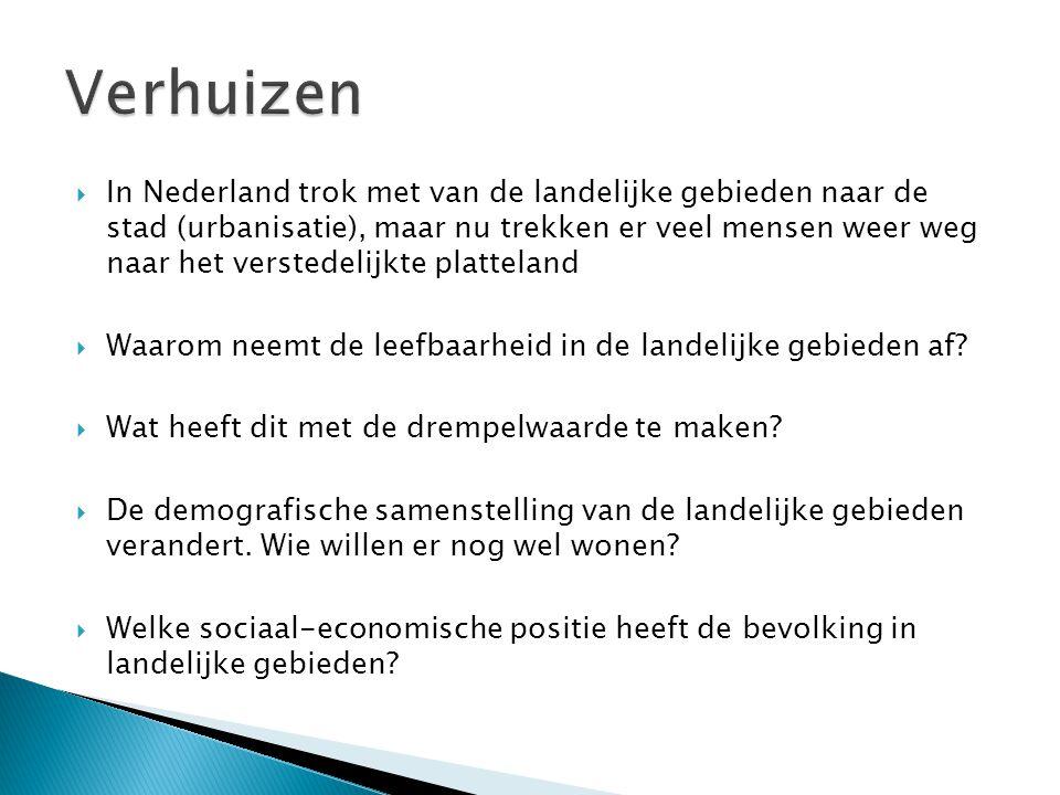  In Nederland trok met van de landelijke gebieden naar de stad (urbanisatie), maar nu trekken er veel mensen weer weg naar het verstedelijkte plattel