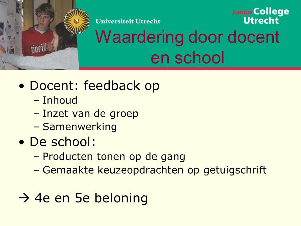Waardering door docent en school •Docent: feedback op –Inhoud –Inzet van de groep –Samenwerking •De school: –Producten tonen op de gang –Gemaakte keuz
