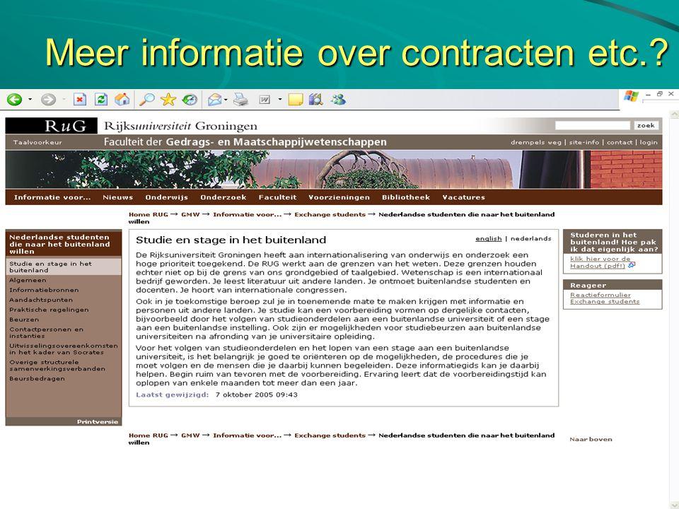 Meer informatie over contracten etc.? Kijk naar de website RUG: