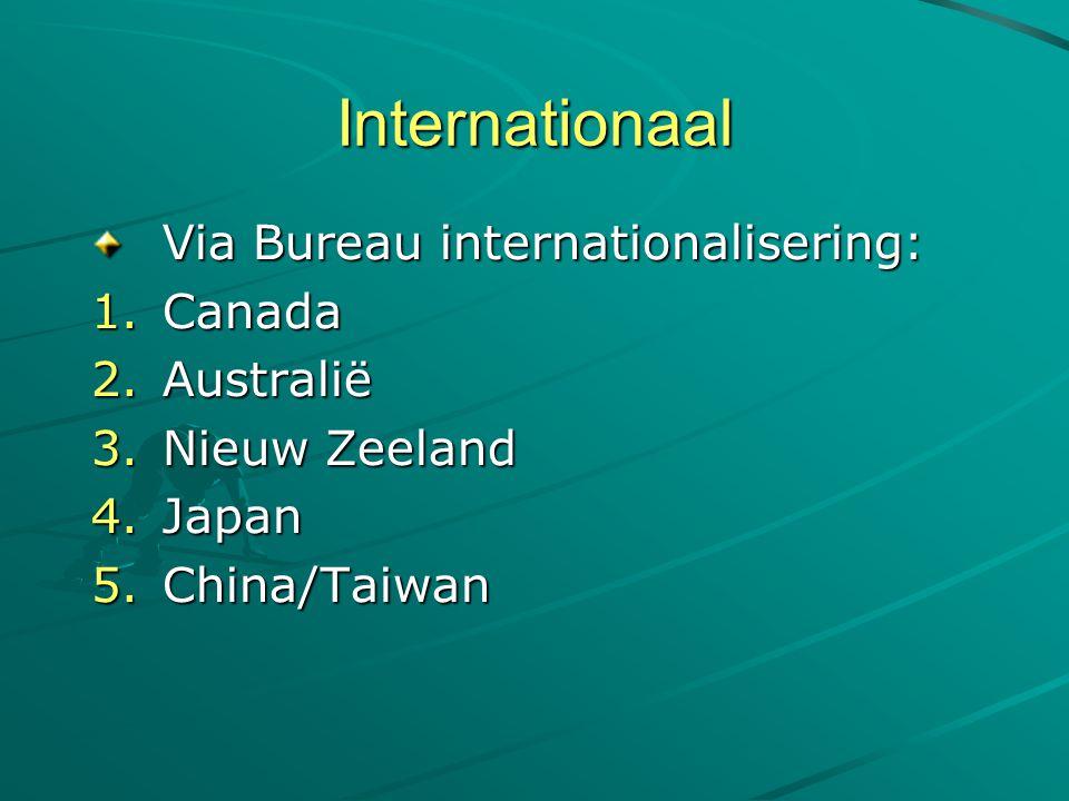 Internationaal Via Bureau internationalisering: 1.Canada 2.Australië 3.Nieuw Zeeland 4.Japan 5.China/Taiwan