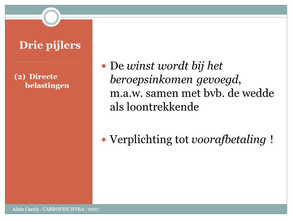 Drie pijlers (2) Directe belastingen  De winst wordt bij het beroepsinkomen gevoegd, m.a.w. samen met bvb. de wedde als loontrekkende  Verplichting