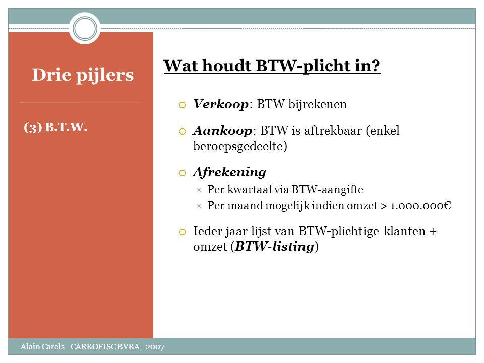 Drie pijlers (3) B.T.W. Wat houdt BTW-plicht in?  Verkoop: BTW bijrekenen  Aankoop: BTW is aftrekbaar (enkel beroepsgedeelte)  Afrekening  Per kwa
