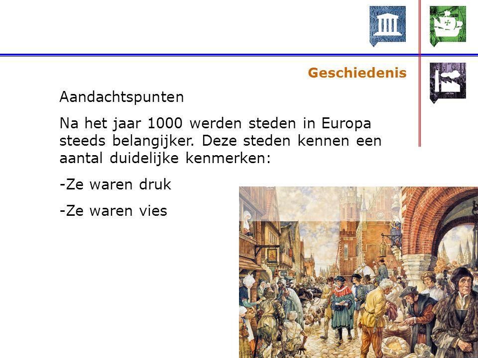 Geschiedenis Aandachtspunten Na het jaar 1000 werden steden in Europa steeds belangijker.