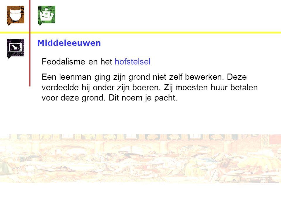 Middeleeuwen Feodalisme en het hofstelsel Een leenman ging zijn grond niet zelf bewerken.