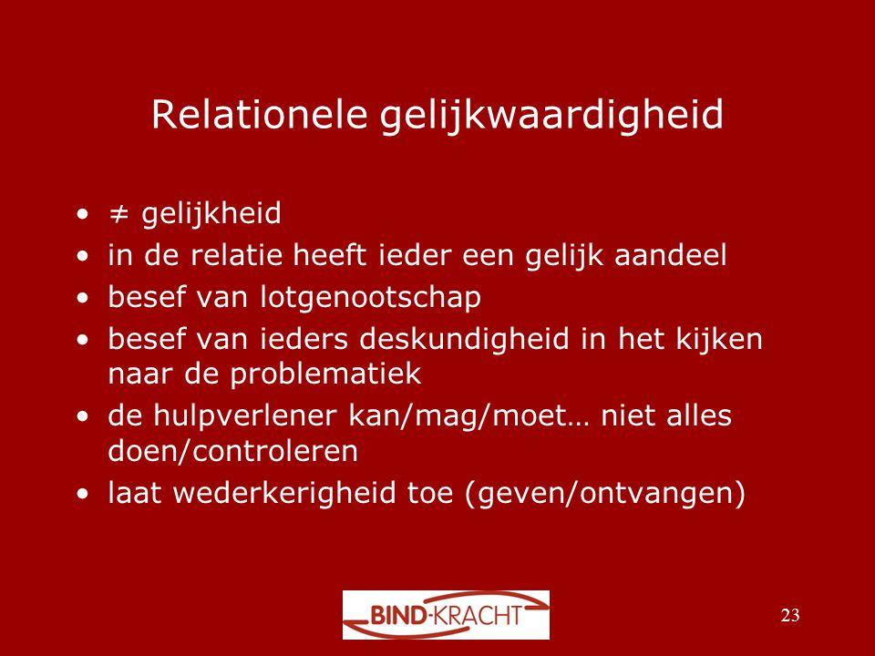 Relationele gelijkwaardigheid •≠ gelijkheid •in de relatie heeft ieder een gelijk aandeel •besef van lotgenootschap •besef van ieders deskundigheid in