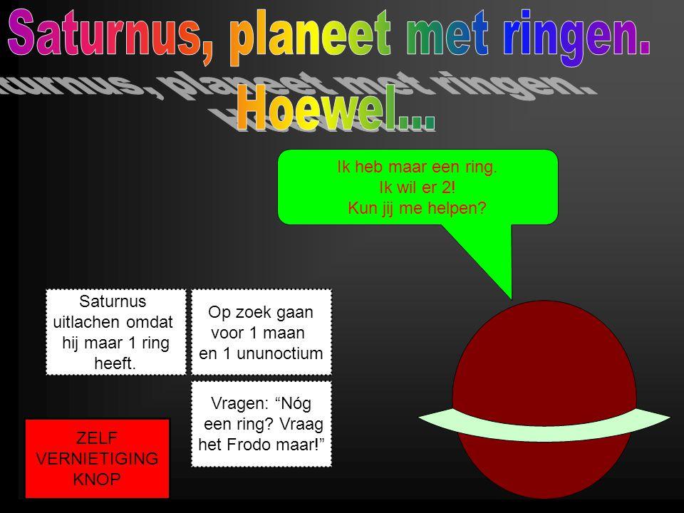 Ik heb maar een ring. Ik wil er 2! Kun jij me helpen? Op zoek gaan voor 1 maan en 1 ununoctium Saturnus uitlachen omdat hij maar 1 ring heeft. Vragen: