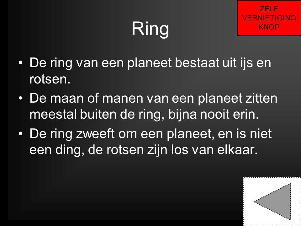 Ring •De ring van een planeet bestaat uit ijs en rotsen. •De maan of manen van een planeet zitten meestal buiten de ring, bijna nooit erin. •De ring z