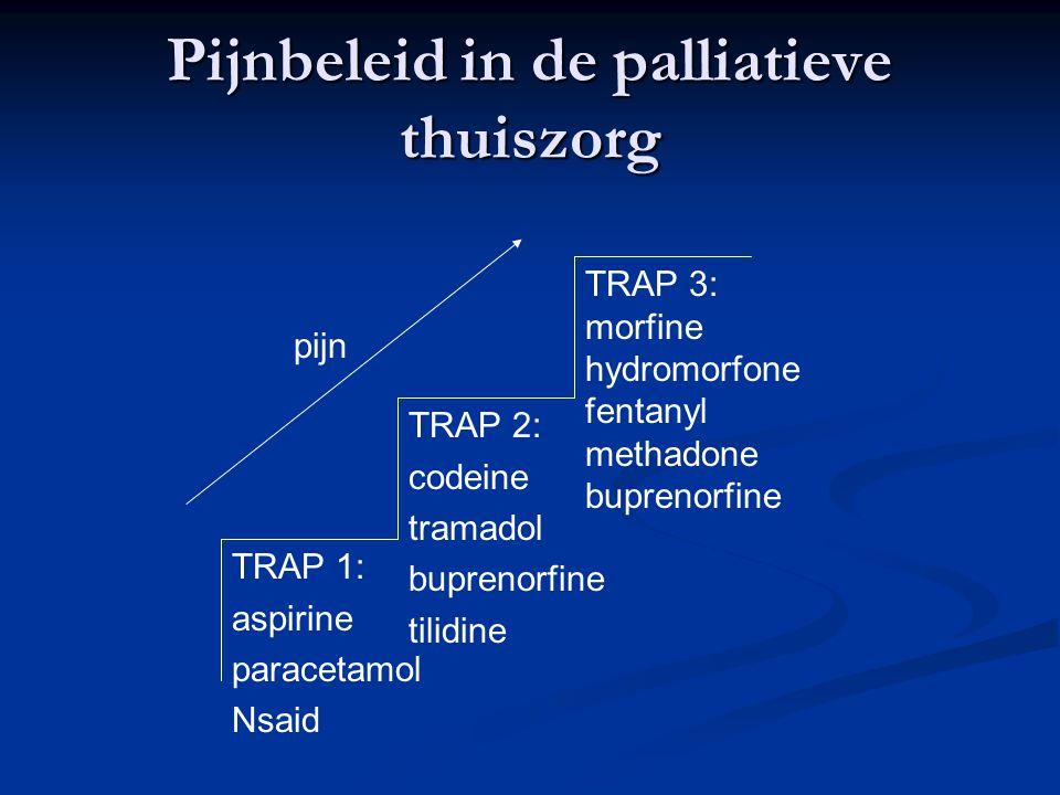 Pijnbeleid in de palliatieve thuiszorg TRAP 1: aspirine paracetamol Nsaid TRAP 2: codeine tramadol buprenorfine tilidine TRAP 3: morfine hydromorfone fentanyl methadone buprenorfine pijn