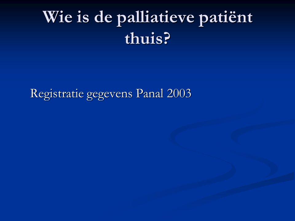 Wie is de palliatieve patiënt thuis Registratie gegevens Panal 2003