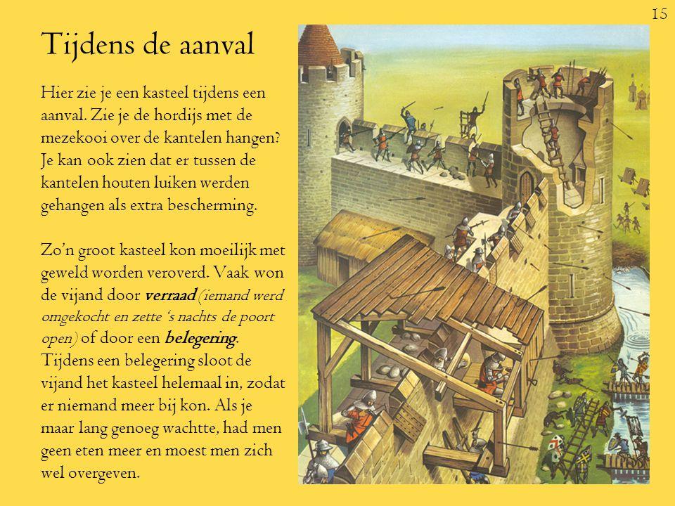 15 Tijdens de aanval Hier zie je een kasteel tijdens een aanval.