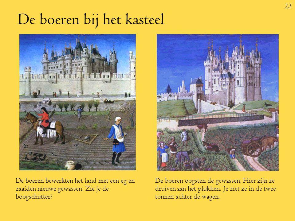 23 De boeren bij het kasteel De boeren bewerkten het land met een eg en zaaiden nieuwe gewassen.