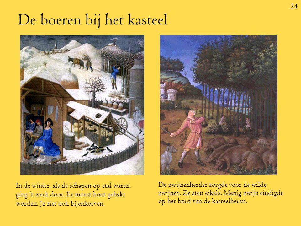 24 De boeren bij het kasteel In de winter, als de schapen op stal waren, ging 't werk door.