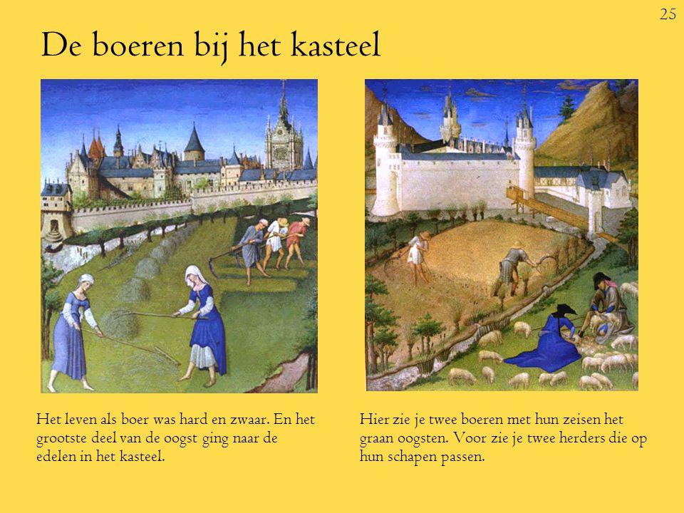 25 De boeren bij het kasteel Het leven als boer was hard en zwaar.