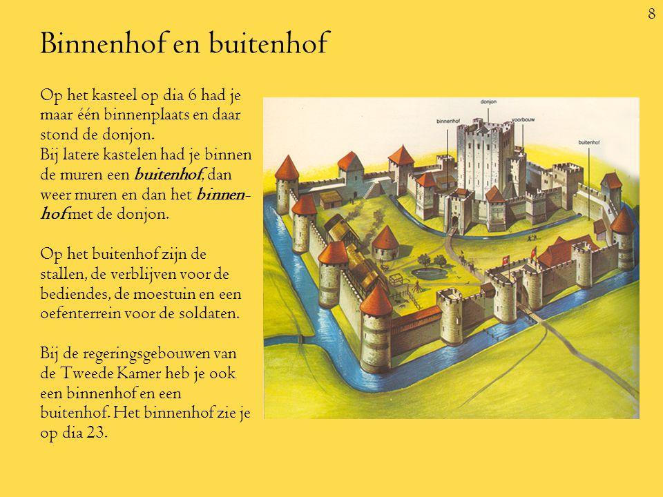 8 Binnenhof en buitenhof Op het kasteel op dia 6 had je maar één binnenplaats en daar stond de donjon.
