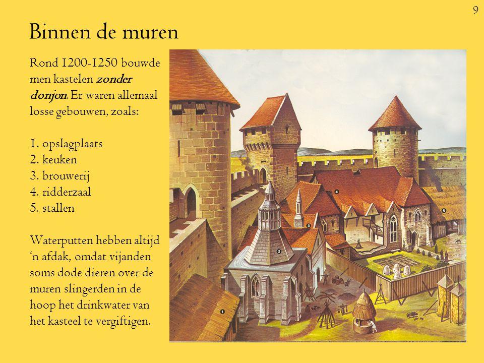 9 Binnen de muren Rond 1200-1250 bouwde men kastelen zonder donjon.