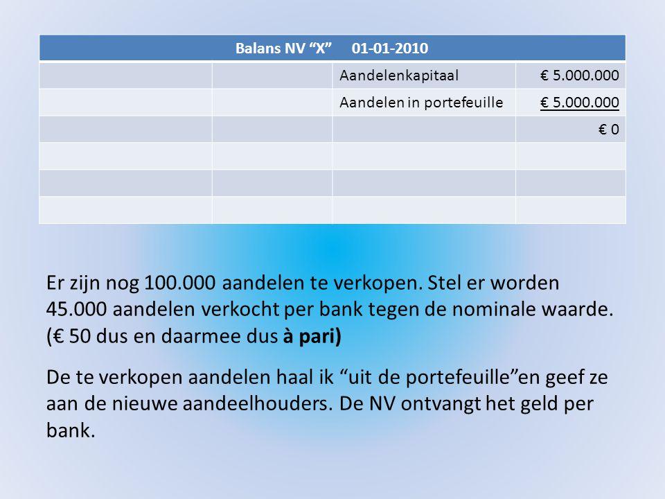 """Balans NV """"X"""" 01-01-2010 Aandelenkapitaal€ 5.000.000 Aandelen in portefeuille€ 5.000.000 € 0 Er zijn nog 100.000 aandelen te verkopen. Stel er worden"""