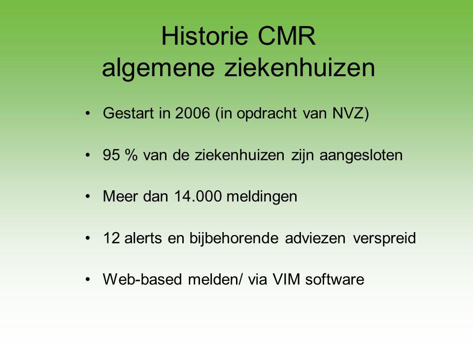 Historie CMR algemene ziekenhuizen •Gestart in 2006 (in opdracht van NVZ) •95 % van de ziekenhuizen zijn aangesloten •Meer dan 14.000 meldingen •12 al