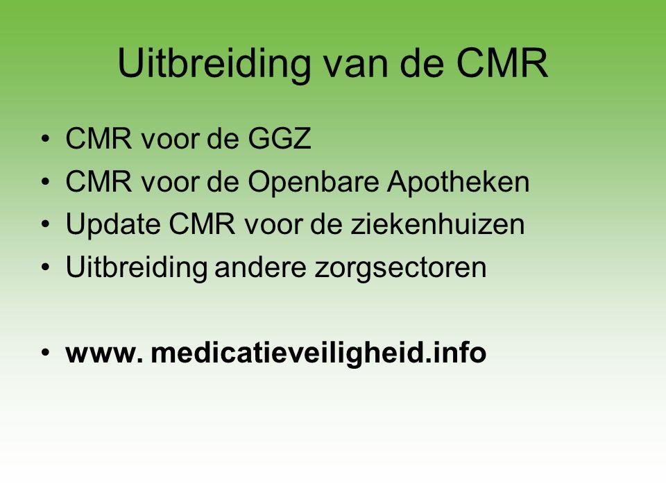 Uitbreiding van de CMR •CMR voor de GGZ •CMR voor de Openbare Apotheken •Update CMR voor de ziekenhuizen •Uitbreiding andere zorgsectoren •www. medica