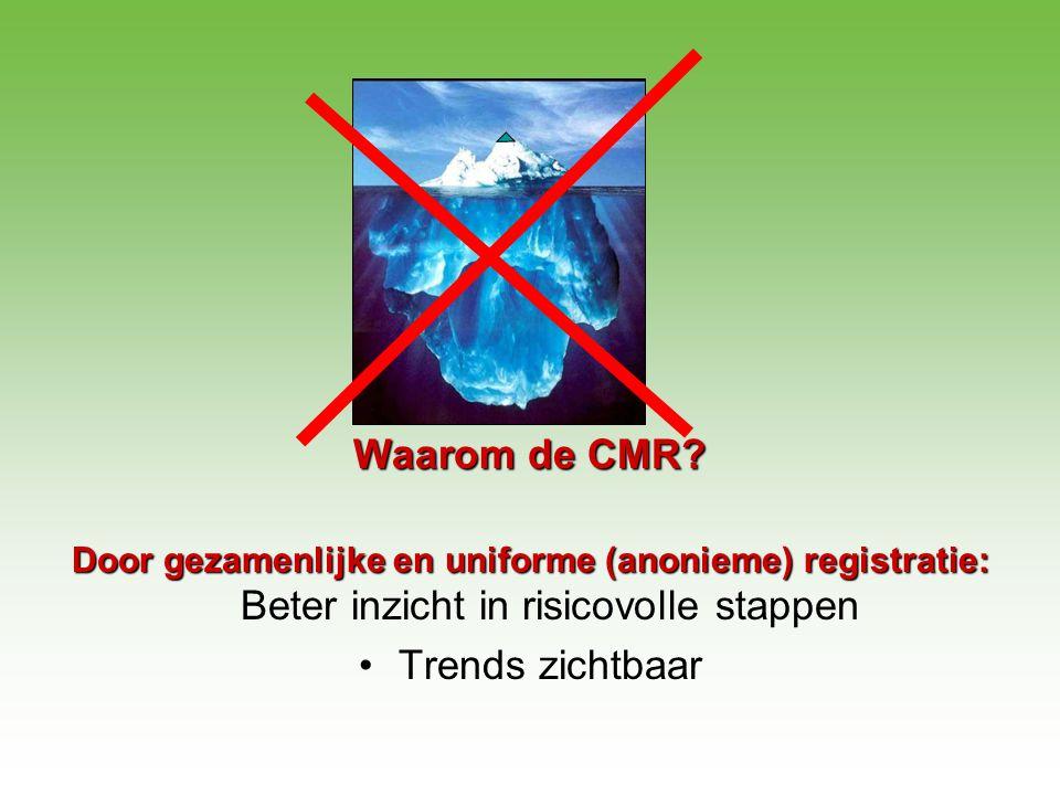 Waarom de CMR? Door gezamenlijke en uniforme (anonieme) registratie: Door gezamenlijke en uniforme (anonieme) registratie: Beter inzicht in risicovoll