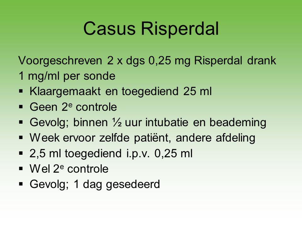 Casus Risperdal Voorgeschreven 2 x dgs 0,25 mg Risperdal drank 1 mg/ml per sonde  Klaargemaakt en toegediend 25 ml  Geen 2 e controle  Gevolg; binn