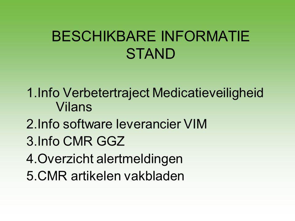 BESCHIKBARE INFORMATIE STAND 1.Info Verbetertraject Medicatieveiligheid Vilans 2.Info software leverancier VIM 3.Info CMR GGZ 4.Overzicht alertmelding