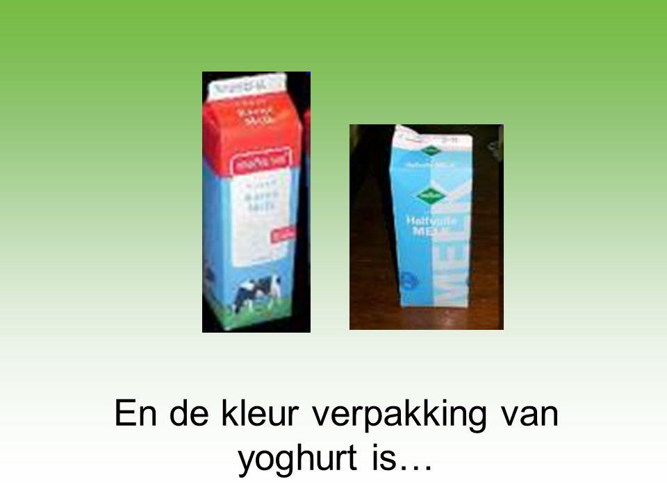 En de kleur verpakking van yoghurt is…