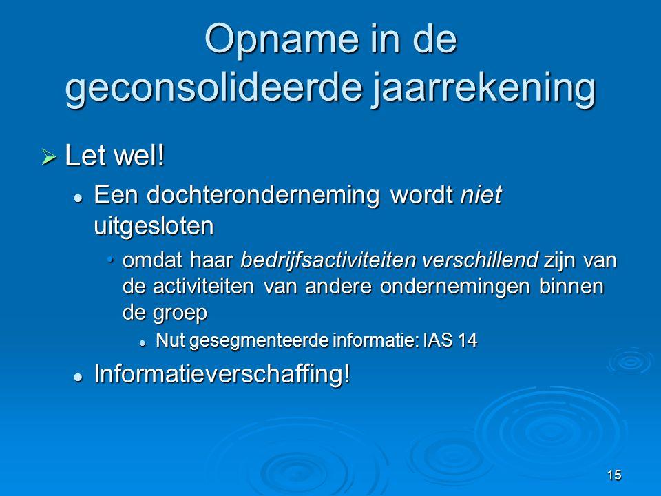 16 Opname in de geconsolideerde jaarrekening   België.