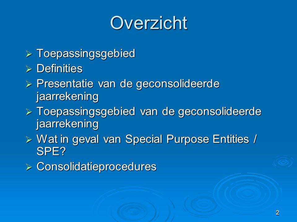 2 Overzicht  Toepassingsgebied  Definities  Presentatie van de geconsolideerde jaarrekening  Toepassingsgebied van de geconsolideerde jaarrekening
