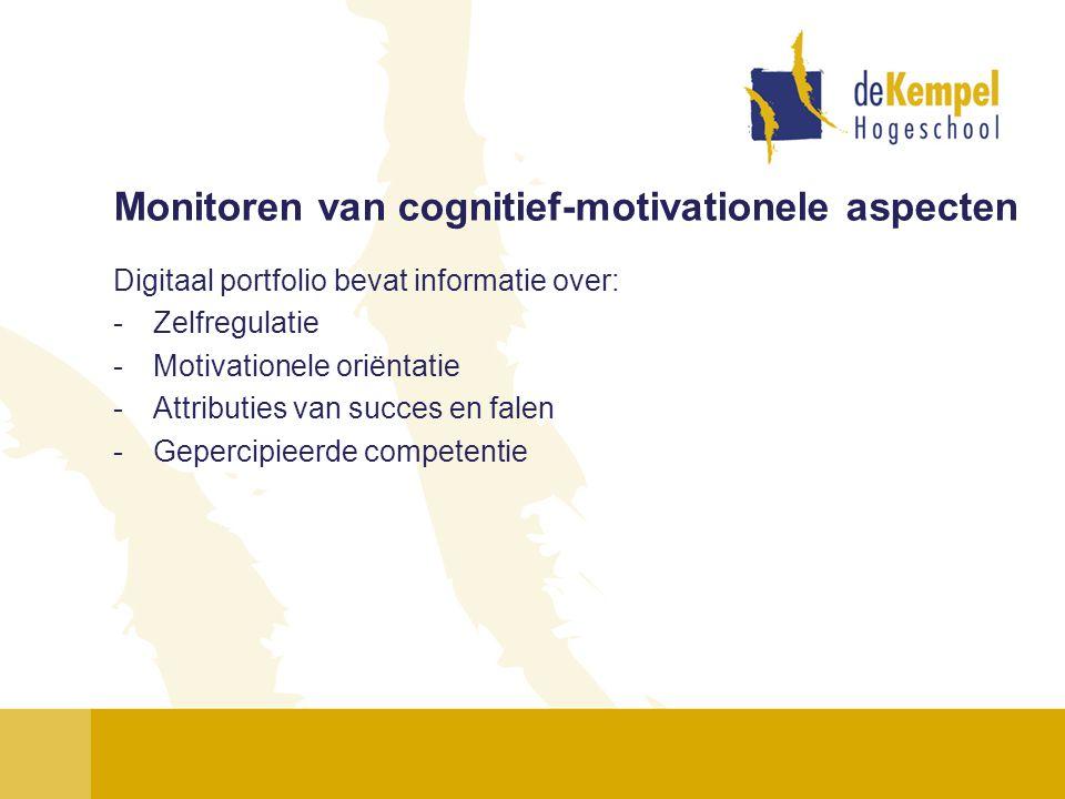 Monitoren van cognitief-motivationele aspecten Digitaal portfolio bevat informatie over: -Zelfregulatie -Motivationele oriëntatie -Attributies van suc