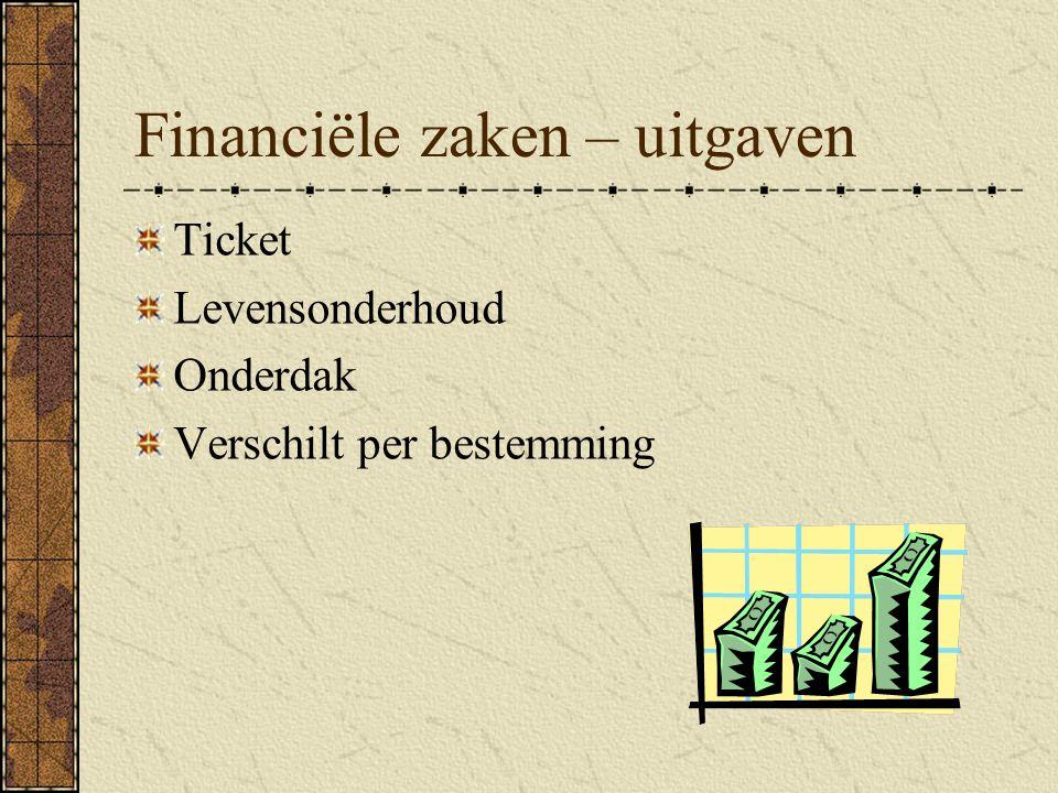 Financiële zaken – uitgaven Ticket Levensonderhoud Onderdak Verschilt per bestemming